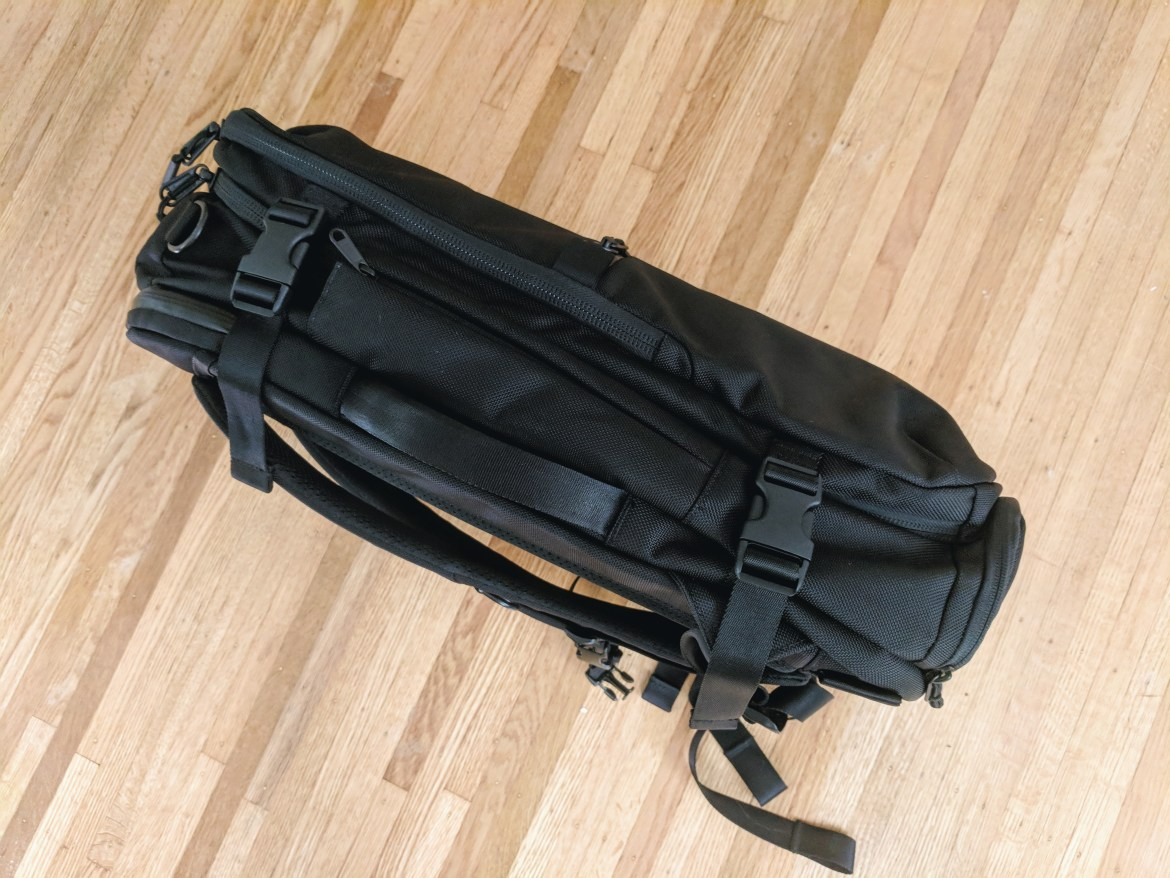 Aer Travel Pack 2 backpack review side view compression straps grab handle