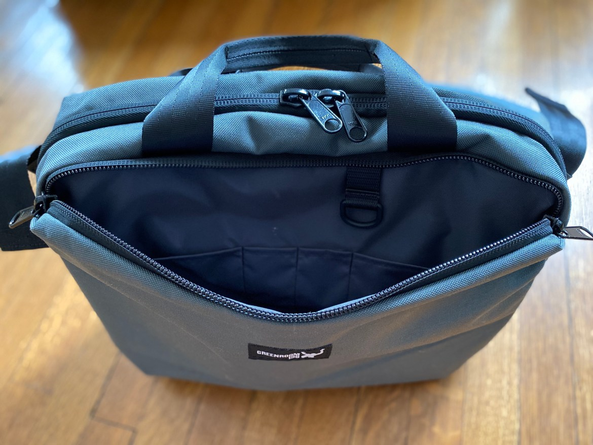 Greenroom136 Mission Attache front panel zippers organization