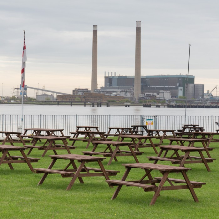 The Clarendon Royal Hotel garden and Tilbury power stations.