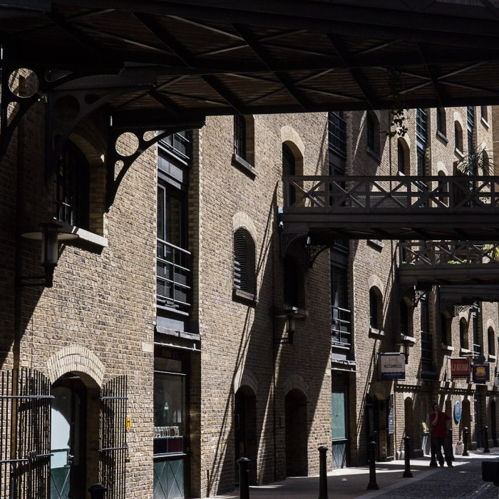 Shad Thames walkways which criss-cross overhead originally used to move goods between warehouses