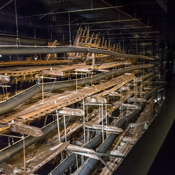 Wreck of the Mary Rose undergoing conservation. A warship of the English Tudor Navy of King Henry VIII built in 1512. Portsmouth Naval Base, Hampshire.