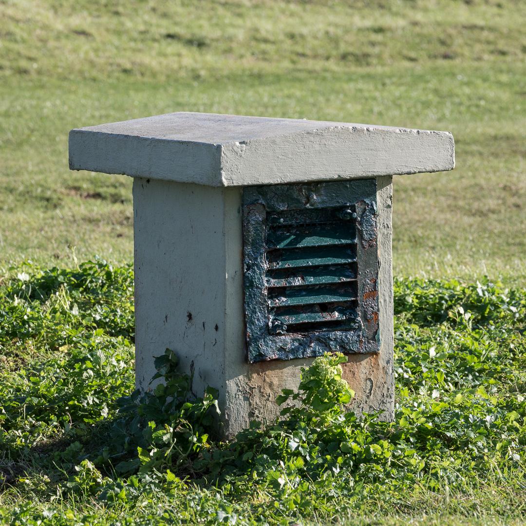 Air vent, Cold War nuclear bunker, Berry Head, Devon.