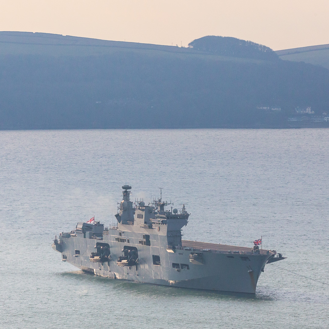 HMS Ocean, the helicopter carrier and assault ship is Britain's biggest warship and the Flagship of the Royal Navy. Plymouth Sound, Devon.