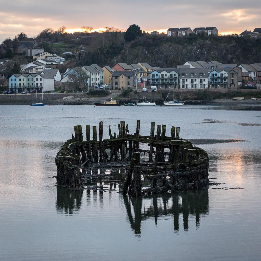 Hulk of Timber Lighter 'Arthur', Hooe Lake, Plymouth, Devon.