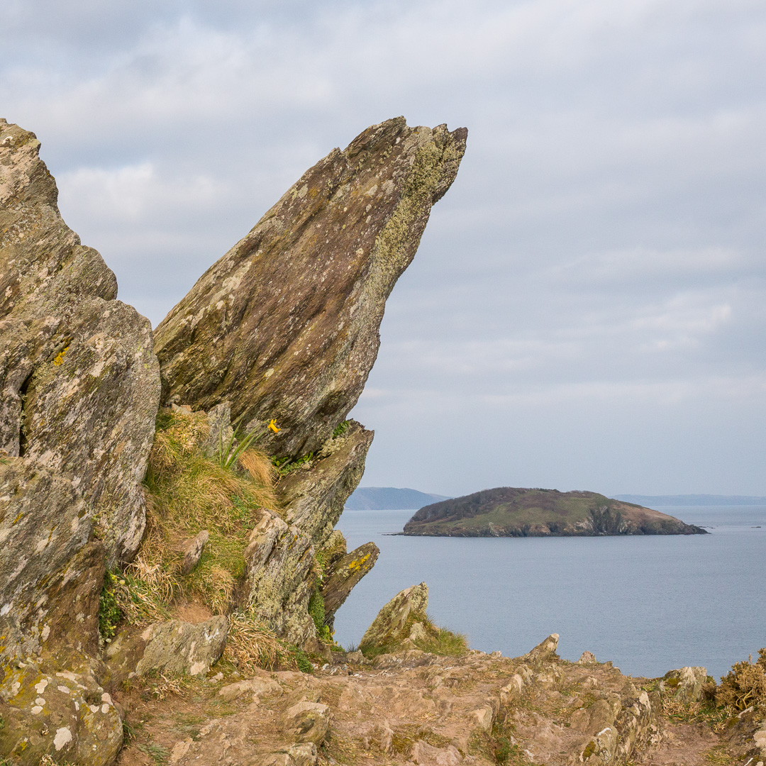 St George's Island from Bridge Rocks, Cornwall.