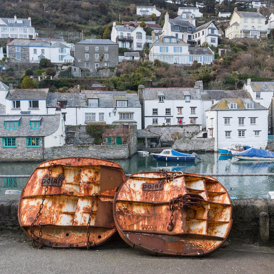Trawler doors, Polperro, Cornwall.