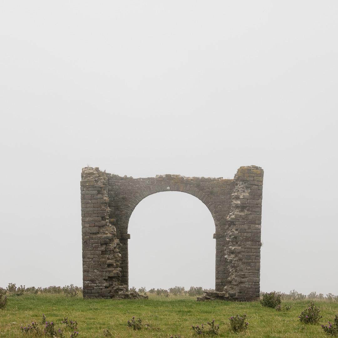 Ruined tower above Warren Cliff, Devon.
