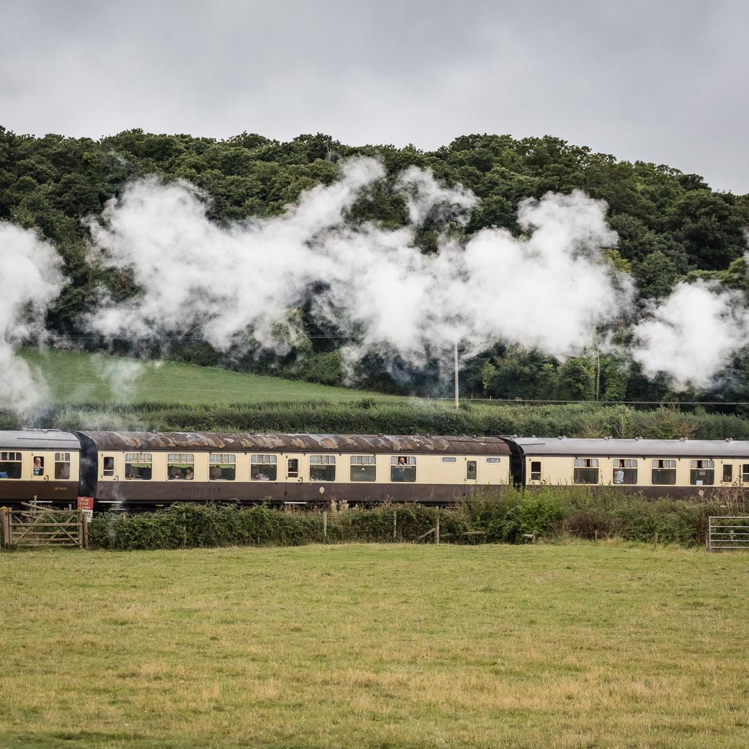 Steam train on the West Somerset Railway, near Minehead, Somerset.