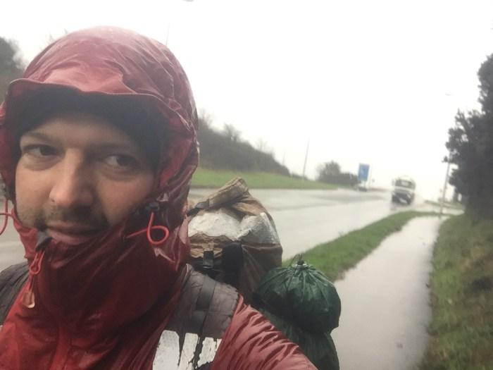Third day in the rain, near Cleddau Bridge, Pembrokeshire.