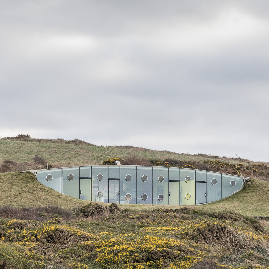 Malator, the buried design allowed the building to be approved within a National Park. Architect: Future Systems. Druidston Haven, Pembrokeshire.
