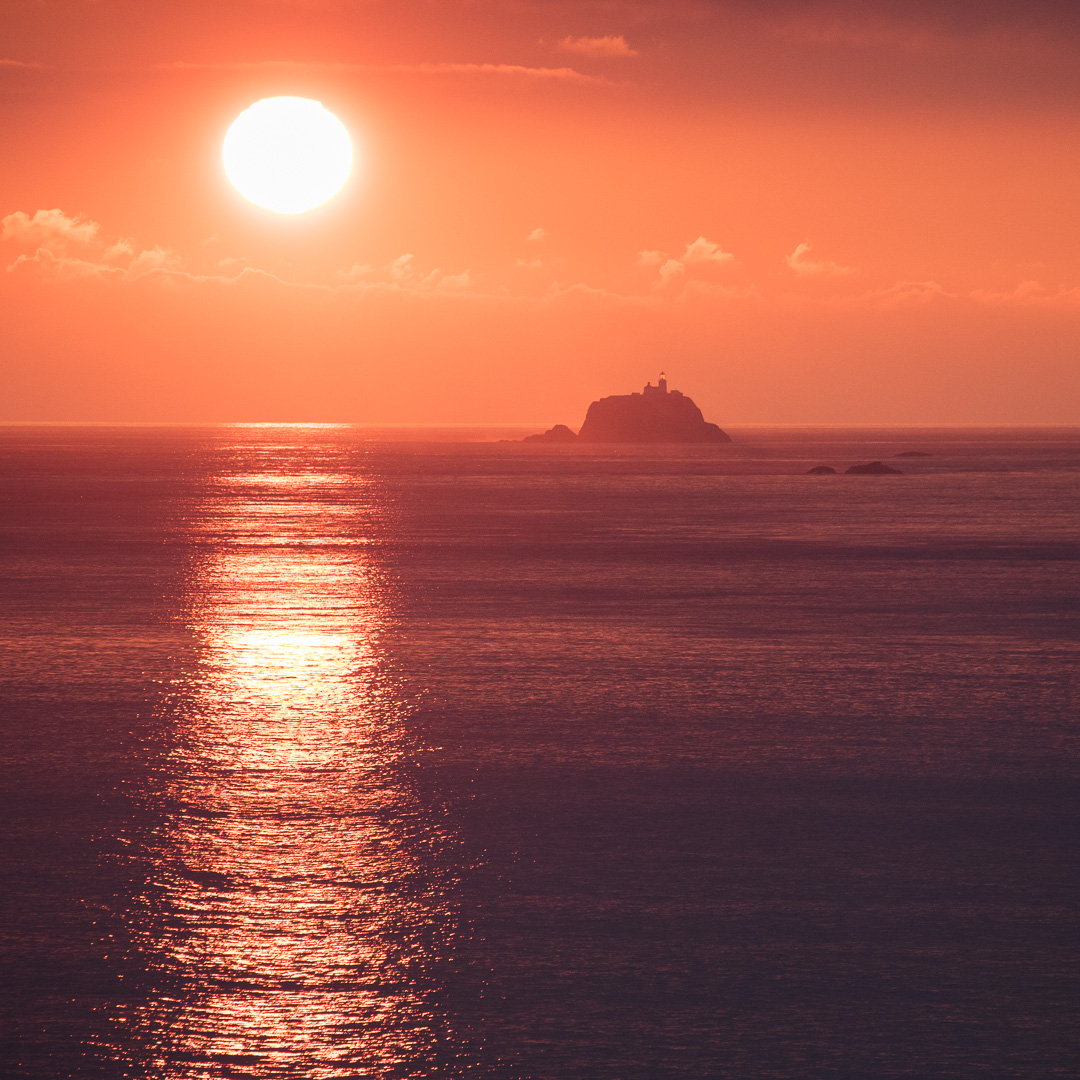 Sunset over South Bishop Lighthouse, Pembrokeshire.