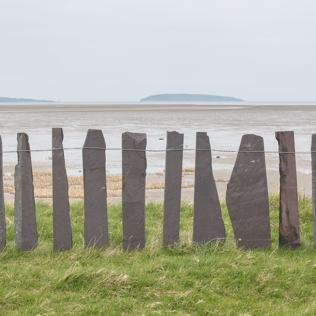Slate fence & Puffin Island, Lavan Sands, Conwy.