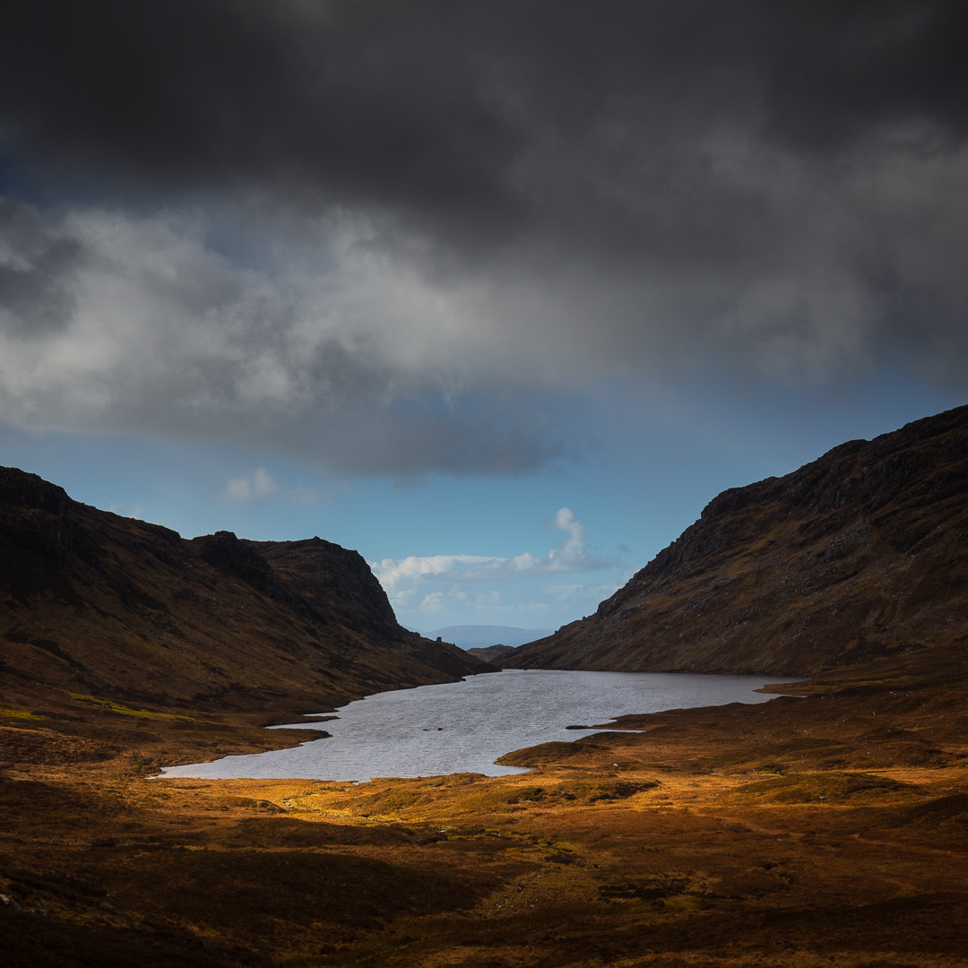 Loch Eireagoraidh (loch of the shieling of the corrie) above Mal