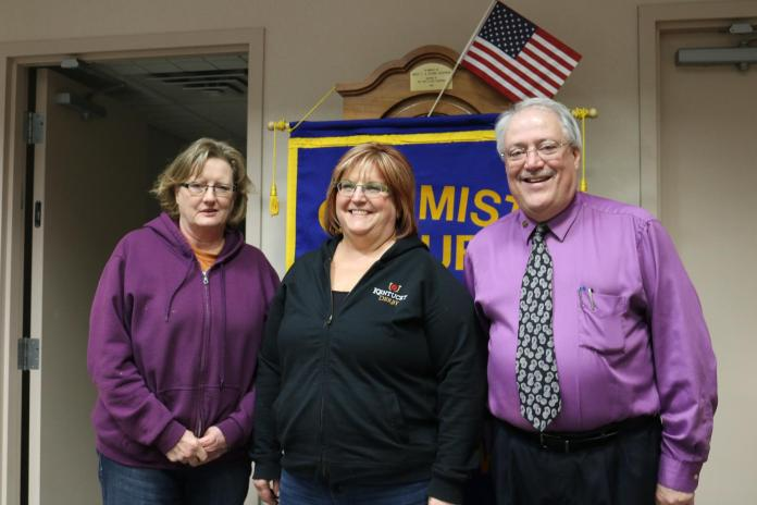 Perry Optimist Club President Dr. Randy McCaulley, right, and Optimist Club Treasurer Jenny Eklund, left, welcomed new  club member Patricia Saulsbury-Snyder of New Media Investment Group.