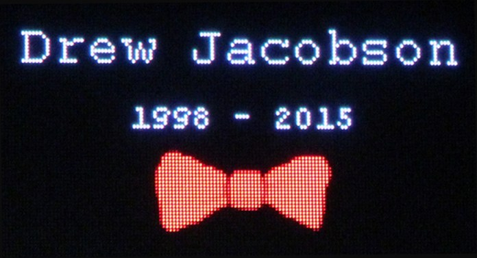An estimated crowd of over 800 were on hand Thursday morning as funeral services were held for Drew Jacobson in the Woodward-Granger gym. The 51 members of the Class of 2017 wore red bow ties in honor of their friend and classmate.