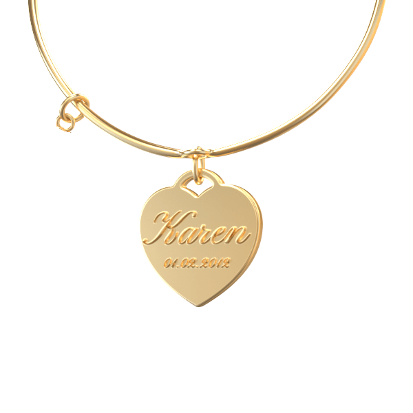 personalized necklace in the shape of a heart with name and birthday