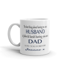 personalized husband mug with text and children's name