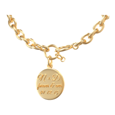 personalized necklace with name, date, and text