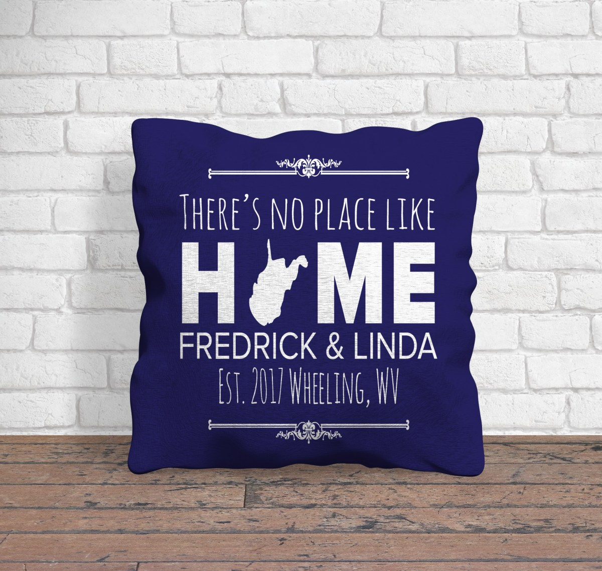 personalized pillow with home state and text