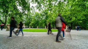 People Walking at the Dwarf Garden in Salzburg