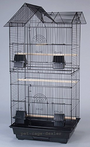 Large Canary Parakeet Cockatiel LoveBird Finch Roof Top Bird Cage With Stand 18x14x60 Black