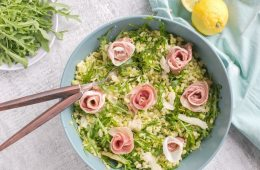 This quick and healthy Barley Pea Pesto Salad with Grana Padano and Prosciutto di San Daniele is always a crowd-pleaser – It's wholesome, loaded with veggies and makes a quick well-balanced meal the whole family will love. Recipe by The Petite Cook