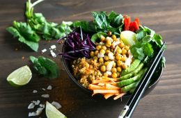 Full of greens, fiber and protein this vegan Spicy Chickpea Freekeh Buddha Bowl is the ultimate healthy lunch or dinner. It's ready in 30 minutes and packed with fresh flavors! Recipe from The Petite Cook