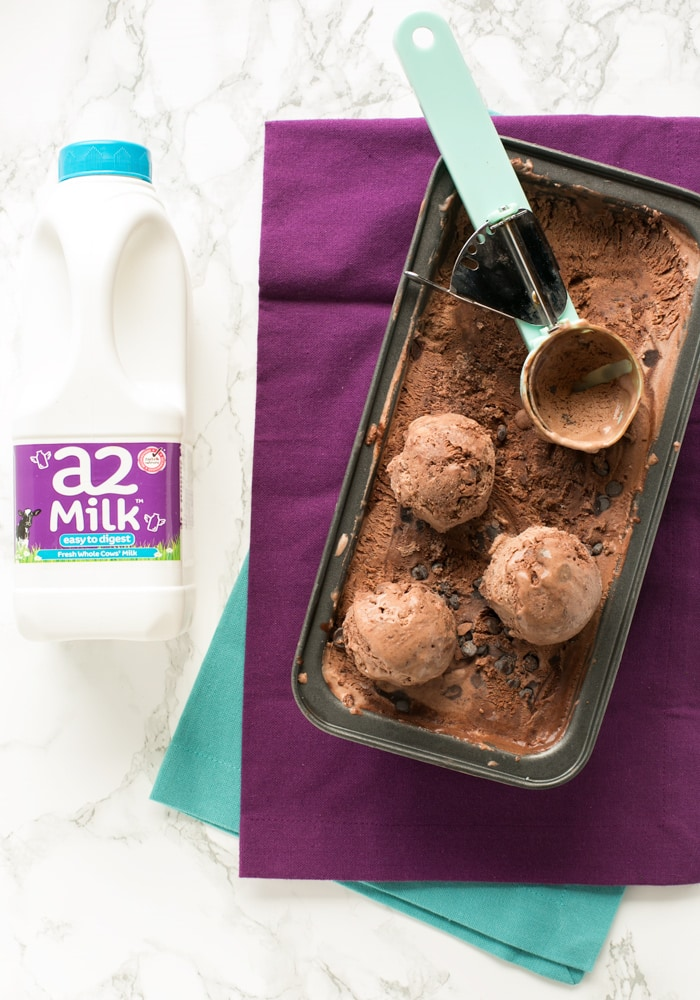 Skip the ice cream maker and go for this indulgent No-Churn Chocolate Ice Cream. Only 5 ingredients required, it's naturally gluten-free and takes just 10 minutes to make! Recipe by The Petite Cook