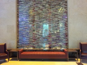 A neat tiled waterfall in the lobby