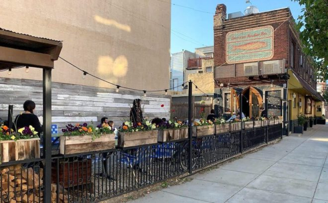 The outdoor seating area at American Sardine Bar in Philadelphia