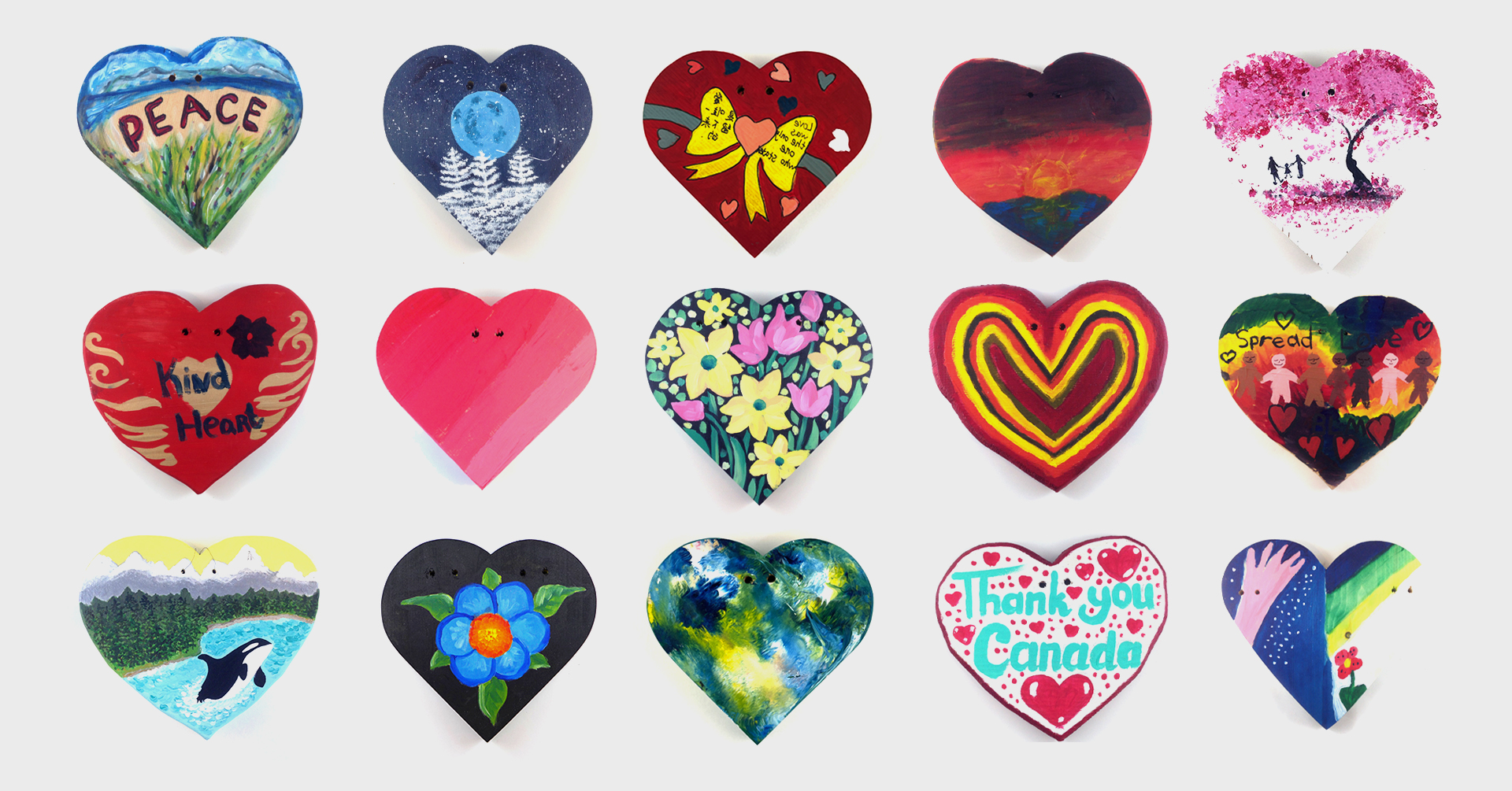 Fifteen hand-painted hearts in a variety of colours.