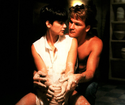 Why is ghost Patrick Swayze not wearing a shirt?