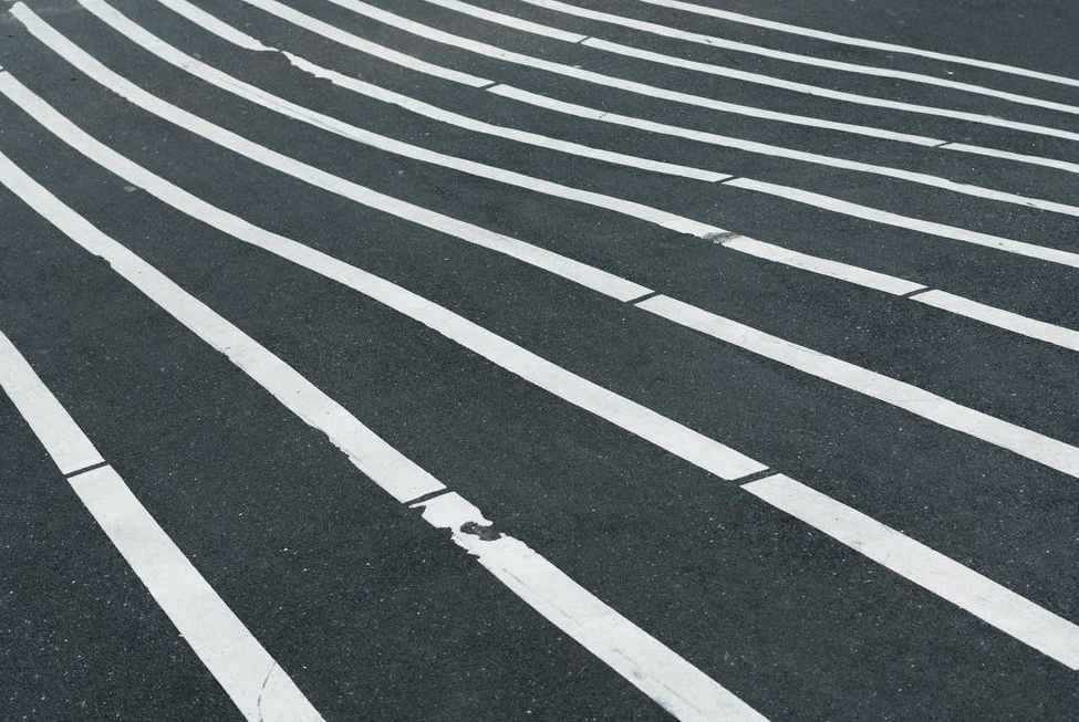 white lines on blck surface