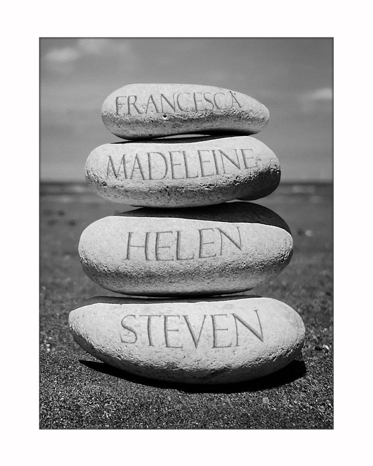 4 names Stone stack 10x8 for display BW