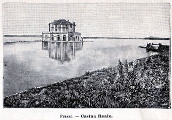 "An old print of the ""Casina Reale' on Lago Fusaro (dated 1901)"
