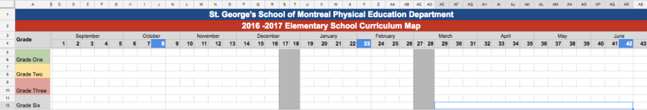 Physical Education Unit Calendar Template