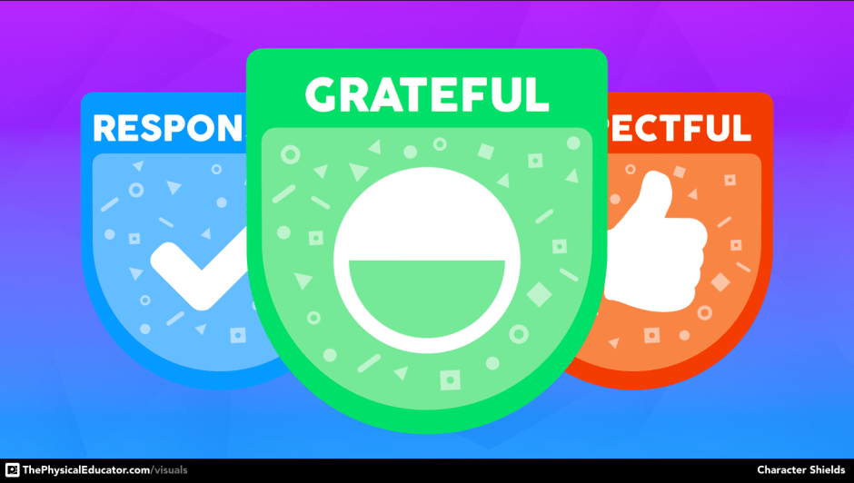 Gratitude Character Shield Physical Education