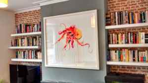 Ash purchased this very large Dave White artwork from Art Republic in Brighton, that I hung on the chimney breast in his living room.