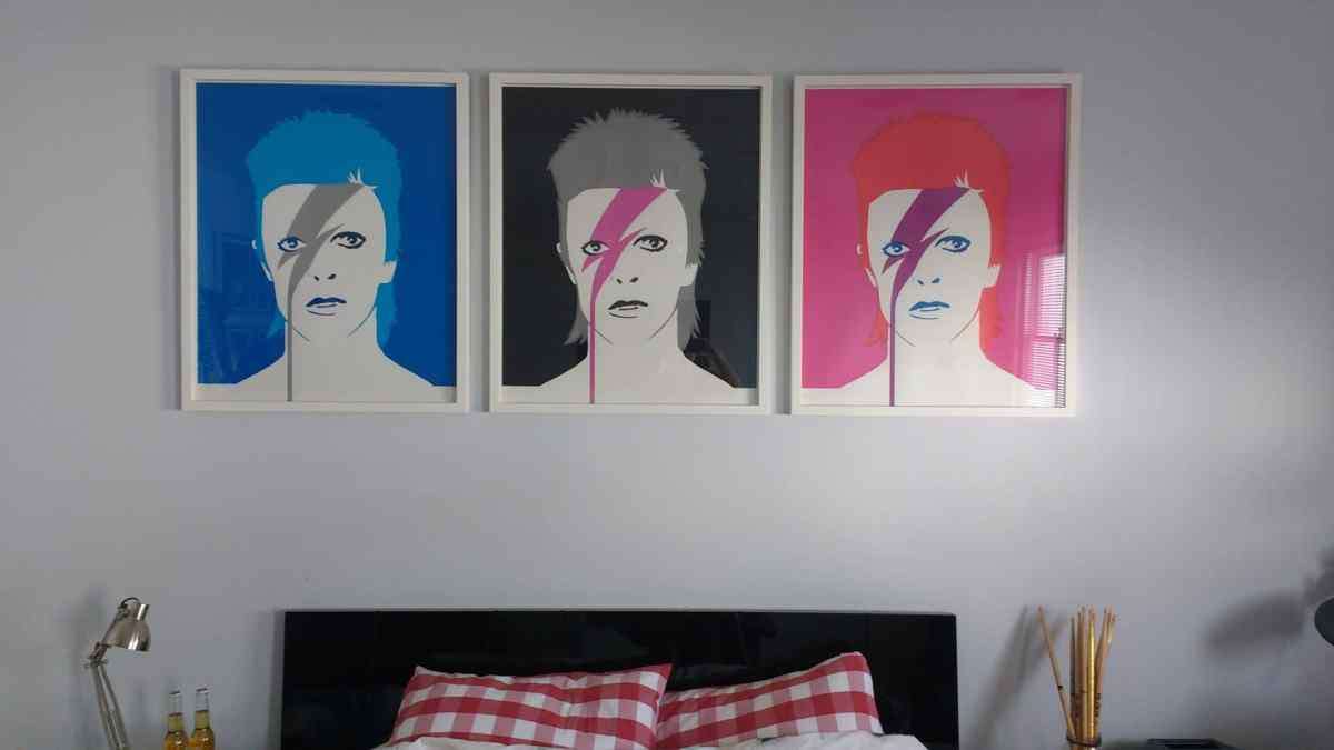 Hommage to Bowie. Prints from A Lad Insane series by artist Pure Evil. We installed these in a teenage boy's bedroom in Brighton.