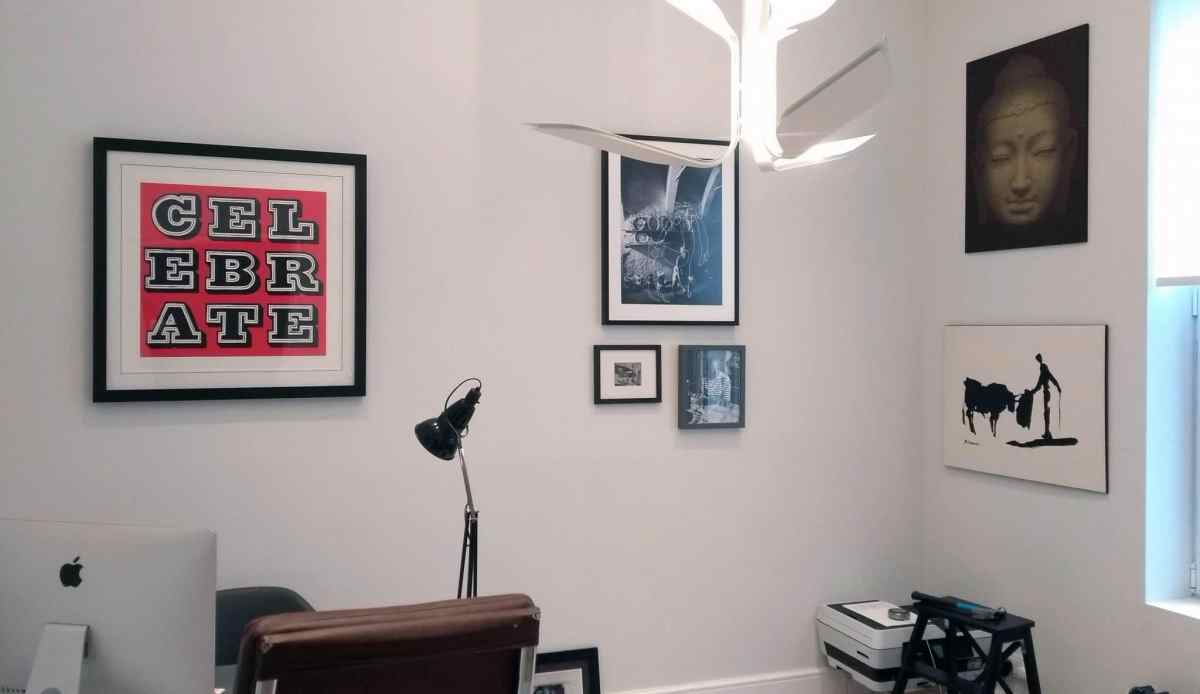 6 pictures hung in an office space in Brighton.