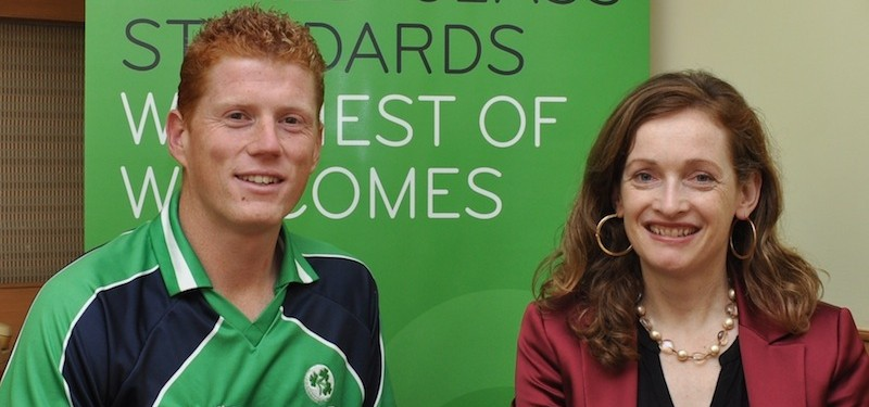 Irish cricketer Kevin O'Brien and Marina Donohoe, head of education at Enterprise Ireland. O'Brien will help Ireland tap the huge Indian student market through marketing and press initiatives