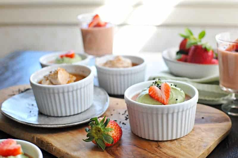 Two easy, perfectly romantic panna cotta recipes - Coconut Cream + Cinnamon-Bourbon Whip and Strawberry Sesame + Matcha Whip. Just 20 mins prep + chilling. Full recipes at www.thepigandquill.com. #recipe #sweets #valentinesday #dairyfree