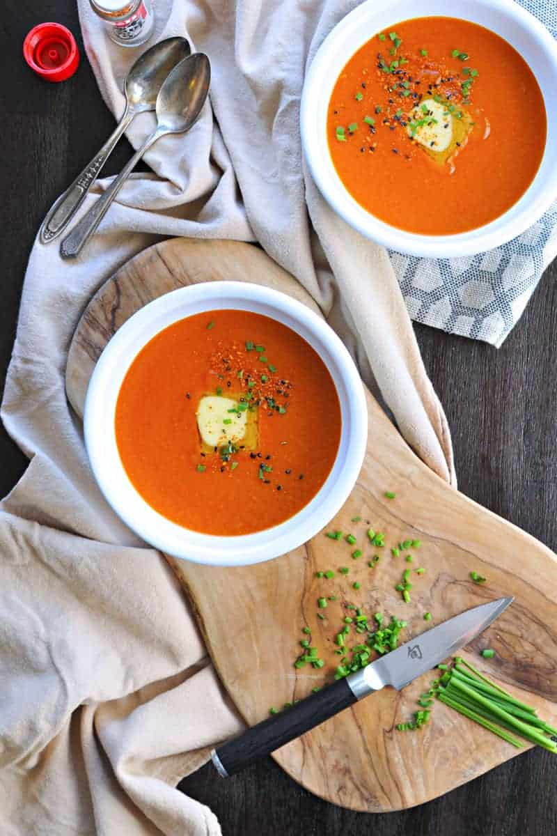 Buttered Miso-Tomato Soup with Roasted Garlic + Togarashi via thepigandquill.com