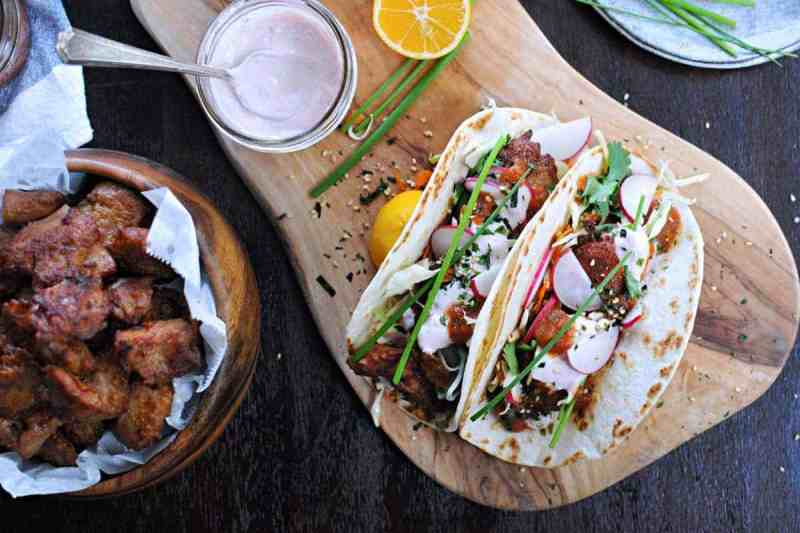 Mochiko Chicken Tacos with Tangy Umeboshi Mayo (via thepigandquill.com)