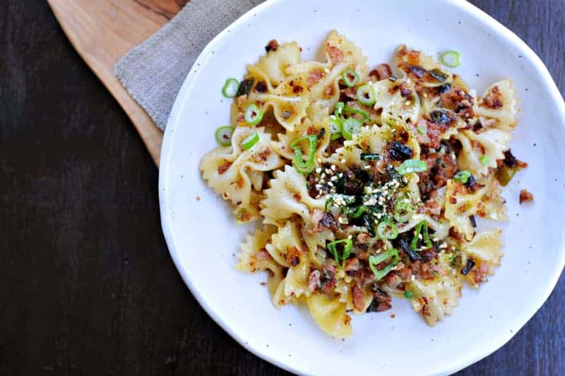 spicy caramelized spam + scallion pasta recipe via thepigandquill.com | #pasta #dinner #recipe #summer