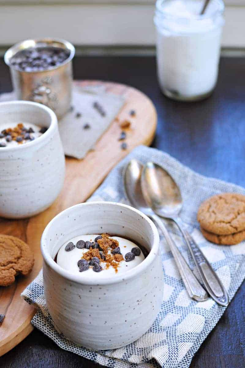 earl grey chocolate pots de creme with honeyed coconut whip (via thepigandquill.com) #dessert #recipe #dairyfree #chocolate
