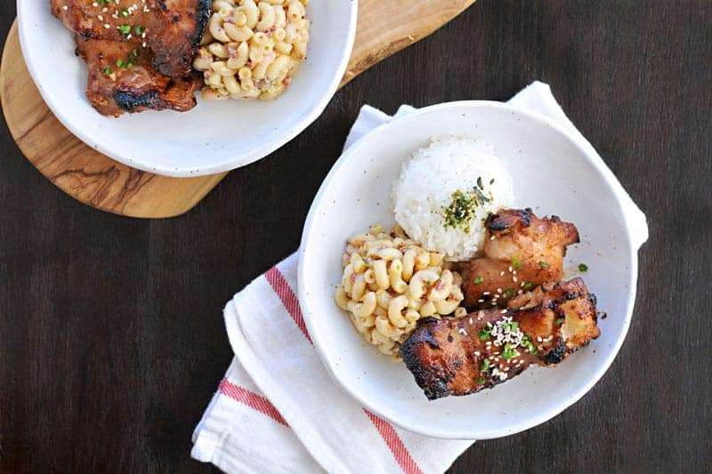 charbroiled shoyu chicken + curried mac salad lunch plate recipe (via thepigandquill.com)