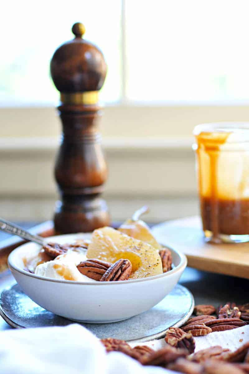 Cider Poached Pears with Apple Cider Caramel + Toasted Pecans recipe (via thepigandquill.com) #vegan #sweets #dessert #caramel #fall