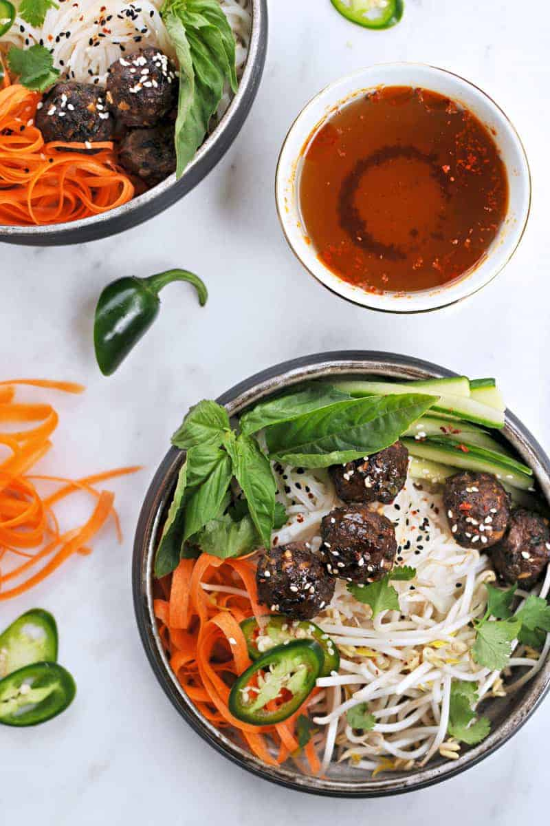 Vietnamese Meatball Bún with Honey-Aleppo Nuoc Cham recipe (via thepigandquill.com) #dairyfree #glutenfree #dinner