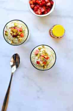 Honeyed Pistachio and Balsamic-Roasted Strawberry Coconut Mousse recipe (via thepigandquill.com) #dairyfree #dessert #refinedsugarfree
